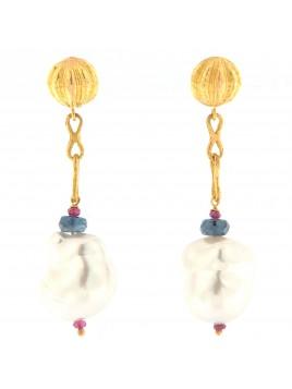 Orecchini in oro rosa perle zaffiri e rubini