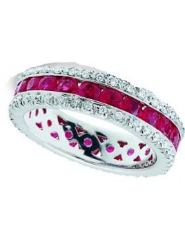 Anello in oro bianco, rubini  e diamanti