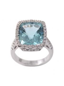 Anello in oro bianco diamanti e acquamarina